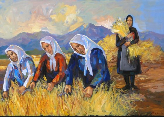 Cypriot Harvest Painitng Alex Khattab Diachroniki Gallery