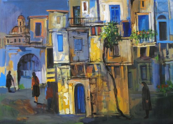 Old City Painting Alex Khattab Diachroniki Gallery