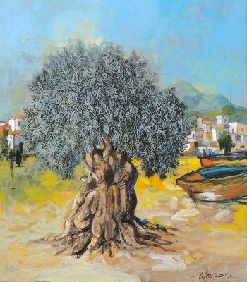 Olive Tree Painting Alex Khattab