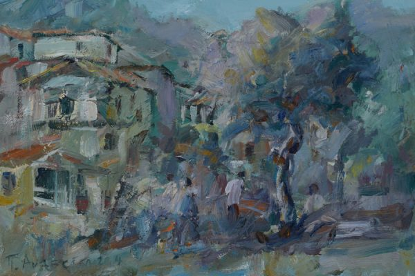 Houses of Lazania painting Paskalis Anastasi