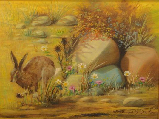 P Ptohopoulos Cypriot Hare painting Diachroniki Gallery