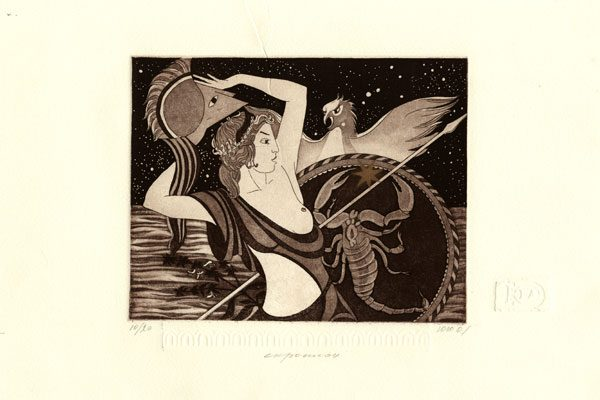 Woman-Scorpio-aquatint-Printing-Diachroniki Gallery