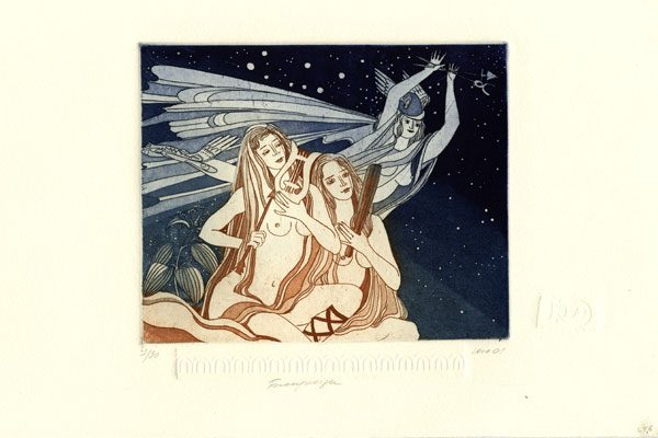 Woman-Gemini-aquatint- Printing-Diachroniki Gallery