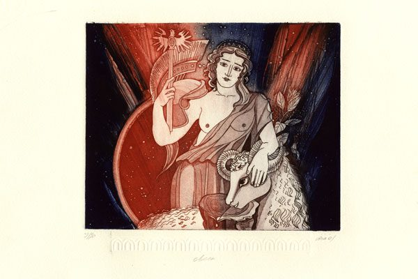 Woman-Aries-aquatint-Lyudmila Yuga-Diachroniki Gallery