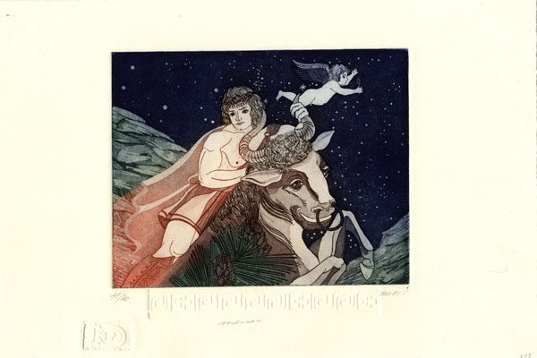 Man-Taurus-aquatint-Lyudmila Yuga-Diachroniki Gallery