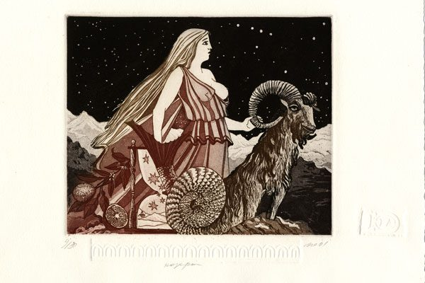 Woman-Capricorn-aquatint-Printing-Diachroniki Gallery