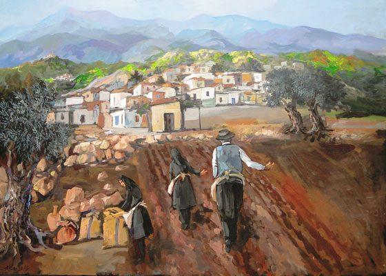 8309 A. Khattab Sowing acrylic on canvas 100x140cm